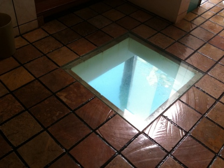 Floor glass panel, Legend Water Chalets, Port Dickson, Malaysia