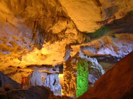 limestone cave, halong bay, vietnam, stalactites, stalagmites