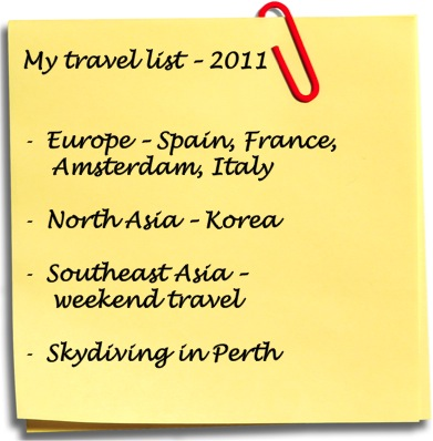 travel list, travel 2011, where to go 2011