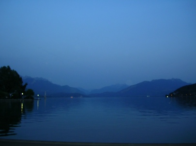 Lake annecy, night, Alps