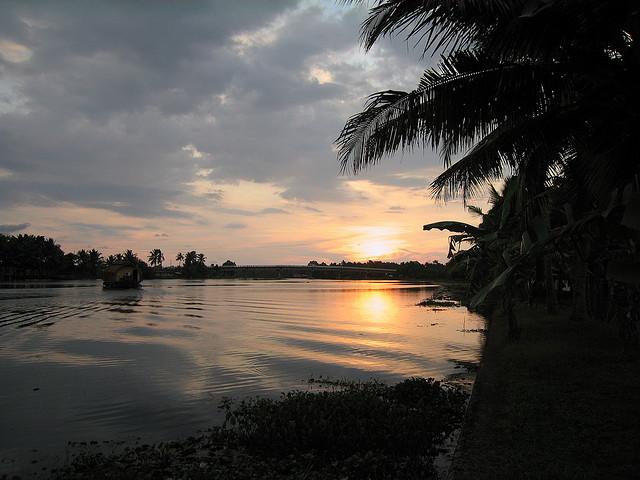 Kerala, backwaters, sunset, cochin