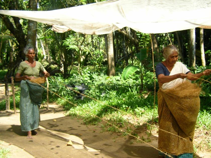 Kerala, coastal village, craftsmen, rope weaving, backwaters