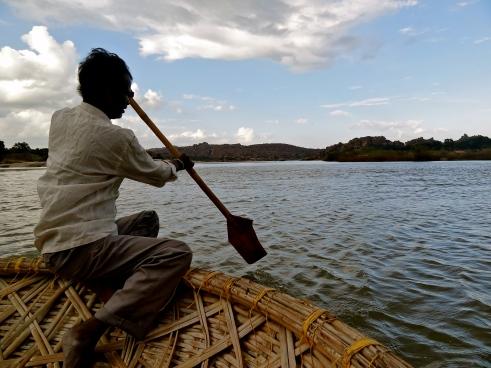 coracle boat, Tungabhadra river, Hampi photos