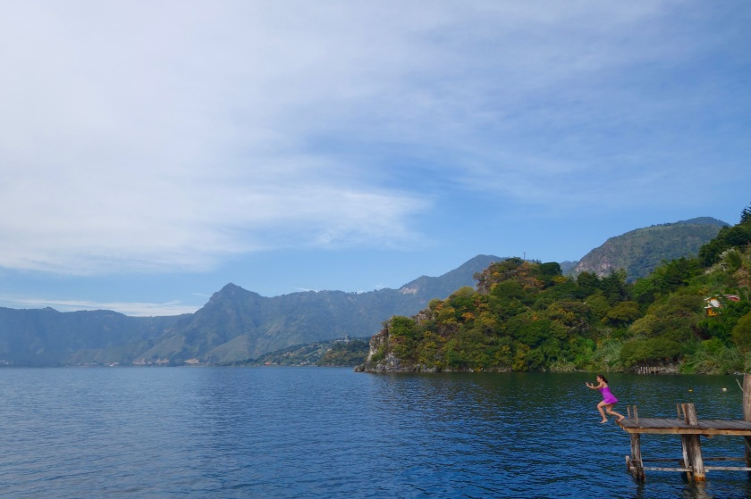 Lake atitlan guatemala, san marcos la laguna, indian travellers