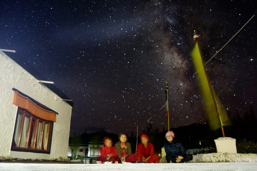 ladakh night sky, stargazing india, nunnery ladakh