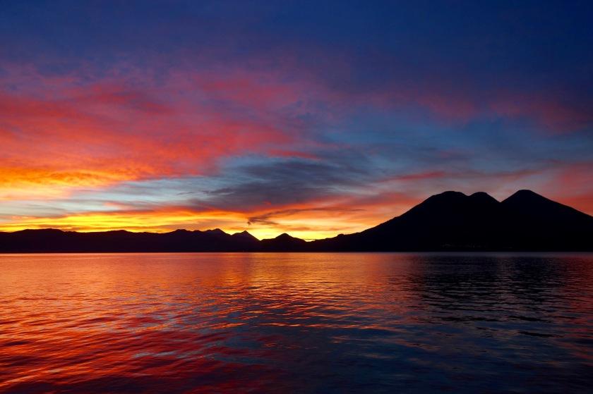 Guatemala sunrise, lake atitlan sunrise